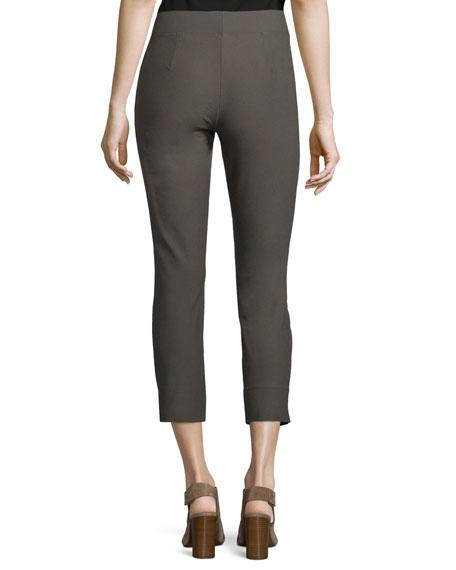Stretch-Crepe Side-Slit Ankle Pants, Oregano, Plus Size