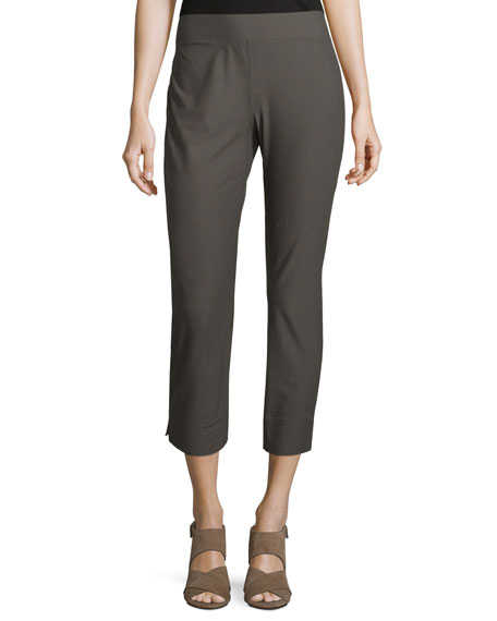 Eileen Fisher Stretch-Crepe Side-Slit Ankle Pants, Oregano, Plus