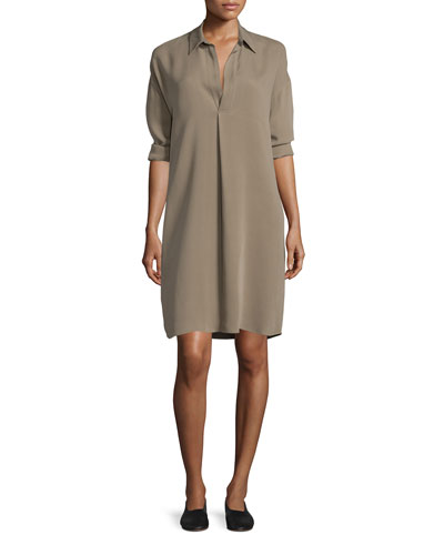 Silk Long-Sleeve Shirt Dress