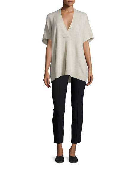 Vince Oversized V-Neck Short-Sleeve Sweater, Light Heather Marzipan
