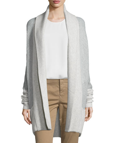 Colorblock Ribbed Cashmere-Blend Cardigan Compare Price