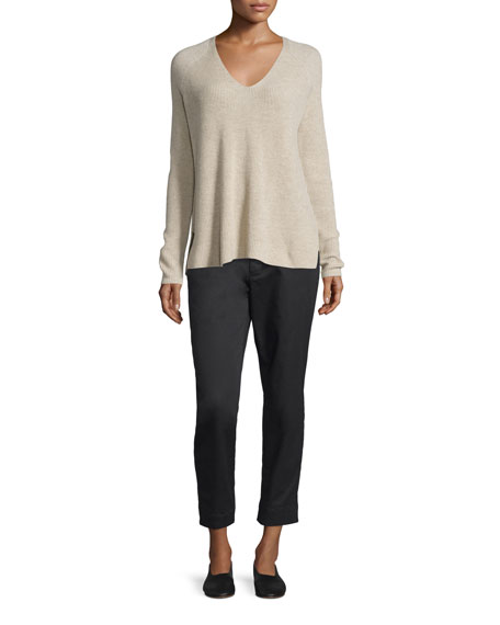 Ribbed Wool/Cashmere-Blend V-Neck Sweater, Light Heather Marzipan