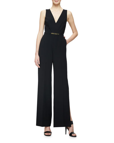 Sleeveless V-Neck Belted Jumpsuit, Black