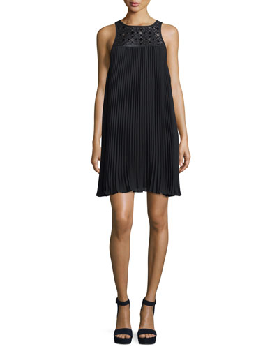 Sleeveless Pleated Shift Dress, Black