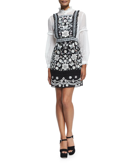 Embellished Bib Dress, Black
