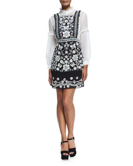 Embellished Bib Dress, Black