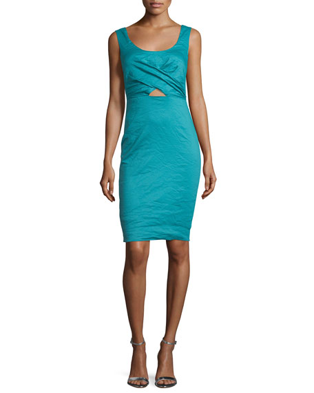 Nicole Miller Talia Sleeveless Sheath Dress W/Cutout, New