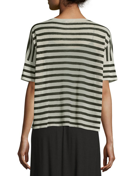 Short-Sleeve Striped Linen-Blend Top, Natural/Black