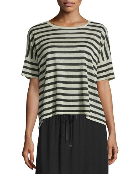 Short-Sleeve Striped Linen-Blend Top, Natural/Black