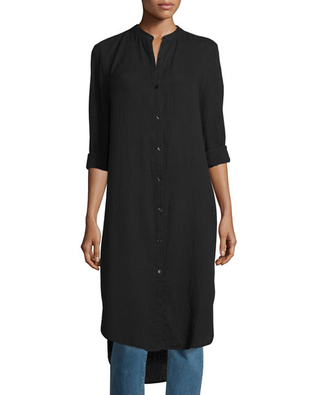 Eileen Fisher Mandarin-Collar Calf-Length Shirt, Black