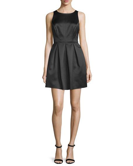 Sleeveless Pleated-Skirt Mini Dress, Black