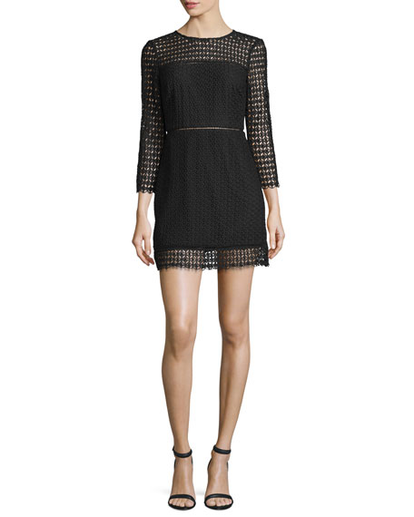 Cynthia Rowley 3/4-Sleeve Geometric Lace Mini Dress, Black