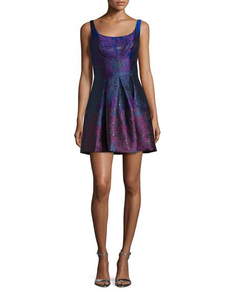 Cynthia Rowley Peony Sleeveless Round-Neck Party Dress, Royal