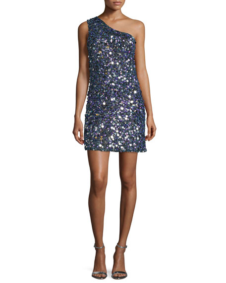 One-Shoulder Sequined Mini Dress, Multi Jewel
