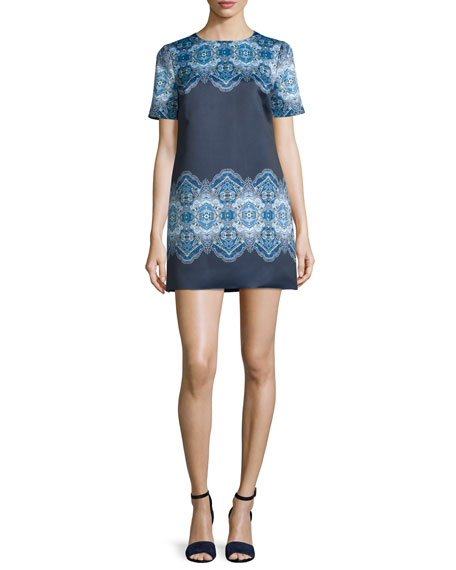Cynthia Rowley Short-Sleeve Printed Mini Dress, Cobalt/Navy