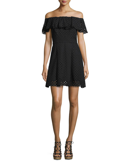 Off-The-Shoulder Eyelet Mini Dress, Black