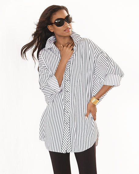 Long-Sleeve Skinny-Striped Big Shirt, White/Black, Plus Size