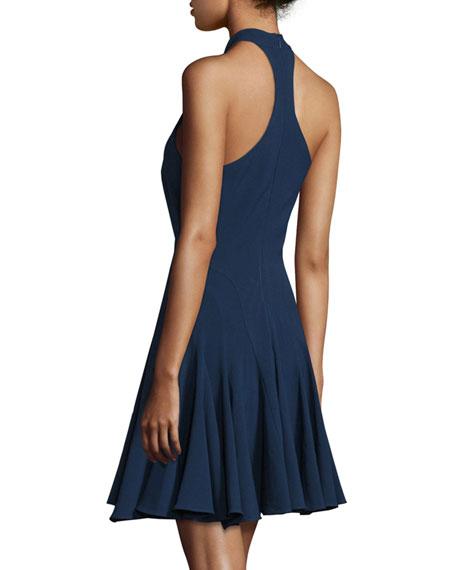 Halter-Neck Fit-&-Flare Cocktail Dress, Navy
