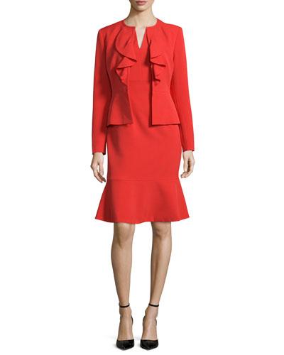 Long-Sleeve Ruffle-Front Dress Suit, Paprika