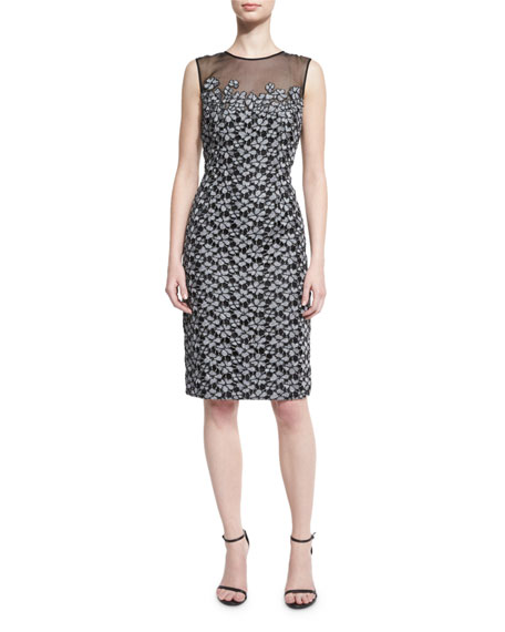 Floral-Embroidered Lace Cocktail Dress, Black/Silver