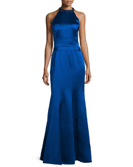 Embellished Halter-Neck Mermaid Gown, Sapphire
