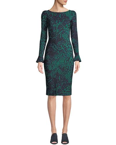Darsey Geometric-Print Cocktail Dress, Cobalt/Black