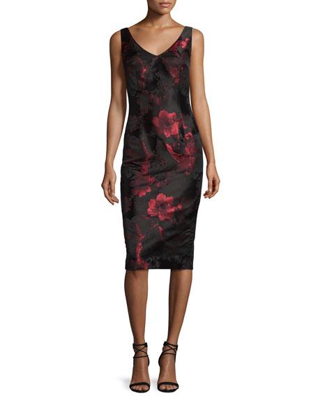 David Meister Sleeveless V-Neck Floral Sheath Dress, Red/Black