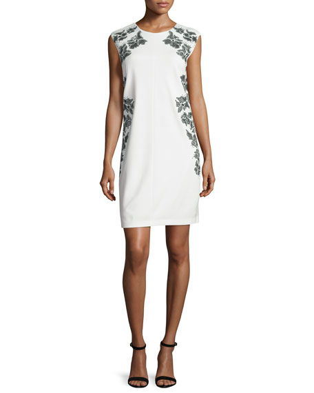 Laundry By Shelli Segal Cap-Sleeve Floral-Embroidered Dress, Warm