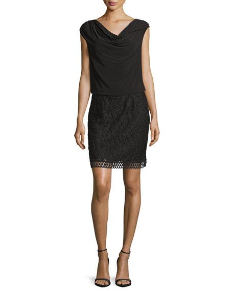 Laundry by Shelli Segal Cap-Sleeve Cowl-Neck Combo Dress, Black