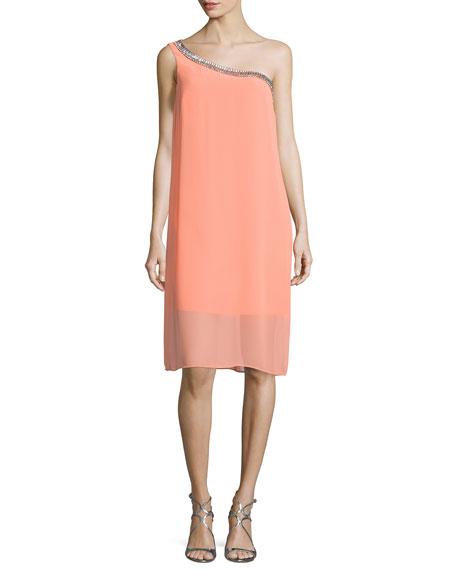 Laundry by Shelli SegalEmbellished One-Shoulder Shift Dress,