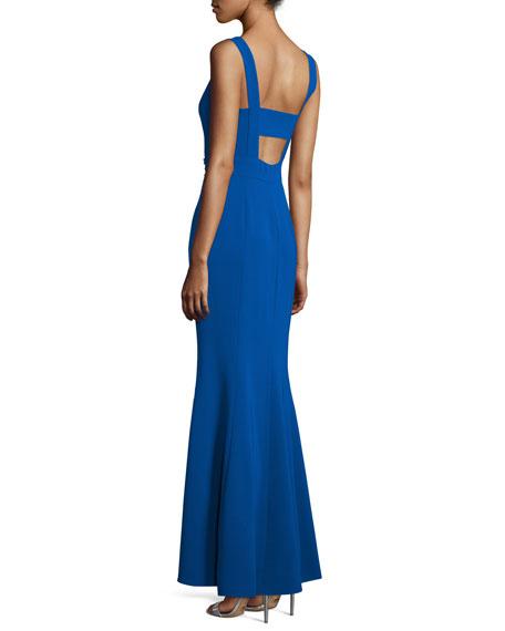 Sleeveless Embellished-Waist Gown, Jubilee Blue