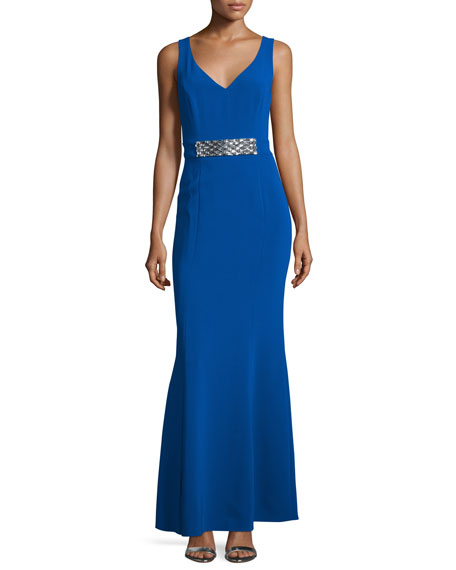 Laundry By Shelli Segal Sleeveless Embellished-Waist Gown,