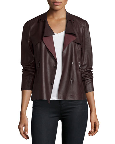 Asymmetric Cropped Leather Trench Jacket, Raisin