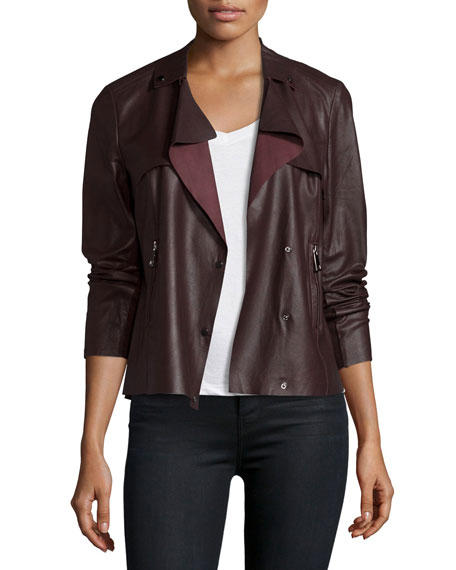 Neiman Marcus Asymmetric Cropped Leather Trench Jacket, Raisin