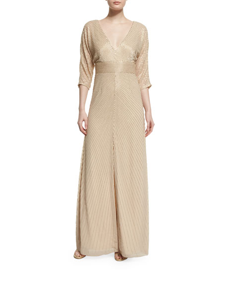 3/4-Sleeve Embellished A-Line Gown, Light Gold
