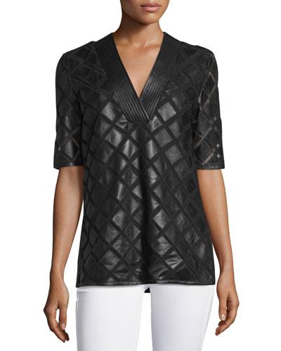 Diamond Laser-Cut Leather Tunic, Black