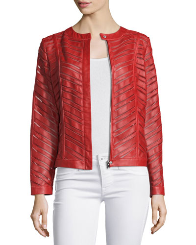 Striped Leather Jacket, Red Sale
