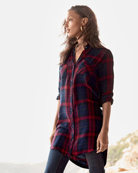 Button-Front Plaid Boyfriend Long Shirt, Red/Multi, Petite
