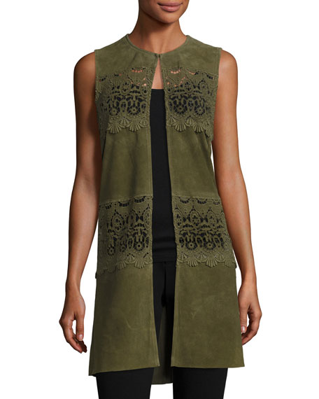 Long Suede & Lace Topper Vest, Olive