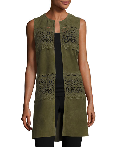 Neiman Marcus Long Suede & Lace Topper Vest,
