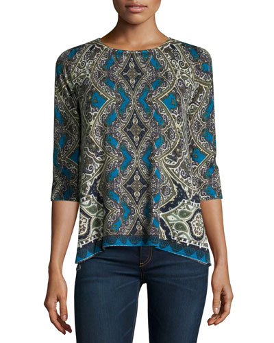 Medallion Half-Sleeve Cashmere Sweater