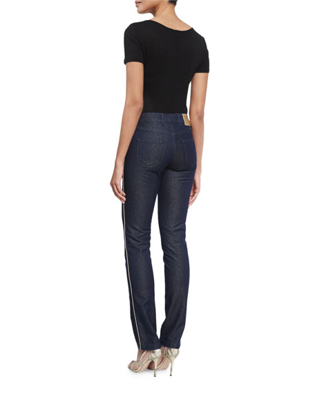 Mid-Rise Shimmery Skinny Jeans, Dark Blue