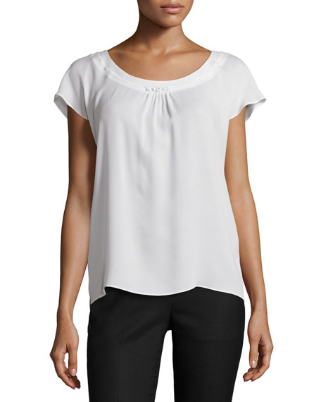 Escada Cap-Sleeve Round-Neck Top, Off White