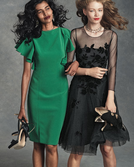 Lace & Velvet Fit-and-Flare Dress, Onyx