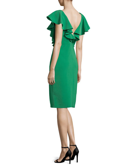 Flutter-Sleeve Crepe Sheath Dress, Emerald