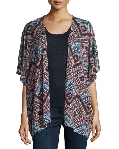 Superfine Cashmere Spanish Tile Kimono Cardigan