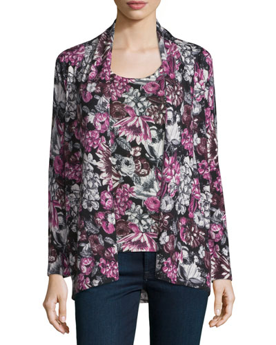 Floral Orlag Open Cashmere Cardigan