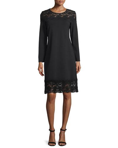 Long-Sleeve Lace-Inset Sheath Dress, Black Lace