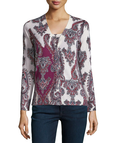 Superfine Imperial Paisley Cashmere Cardigan