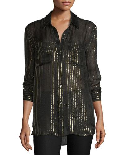 Daddy Metallic-Striped Silk Shirt